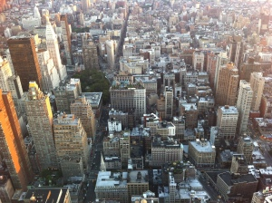 Looking down Fifth Avenue and Broadway from the Empire State Building